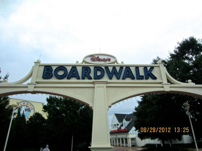 The Boardwalk sign coming from the Swan & Dolphin area.