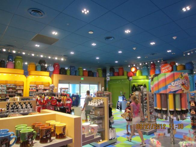 It's actually tastefully done and is exactly like the layout at POP Century as far as the gift shop and food court being in one large room.