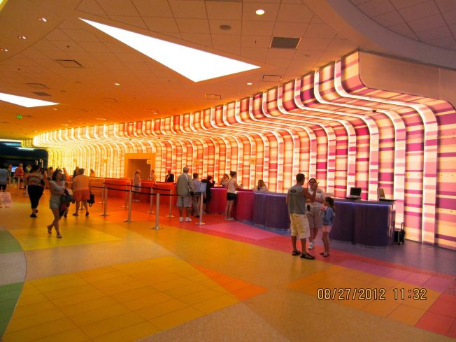The check in area is probably the coolest on Disney property. It's so colorful and bright but not overly bright, if that makes sense.