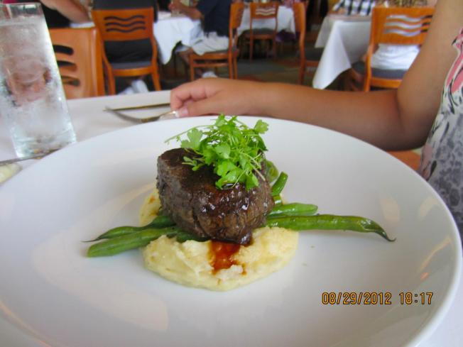 Ashley's filet mignon. She gobble it up. We counted and she consumed a total of five filet mignons on our Honeymoon. Quite impressive if you ask me.