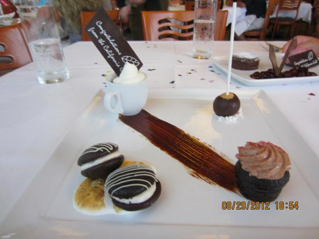 Chocolate four ways for me. They were all delicious.