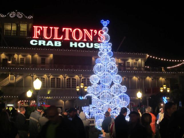 A Christmas tree of Mickey heads outside Fulton's Crab House.