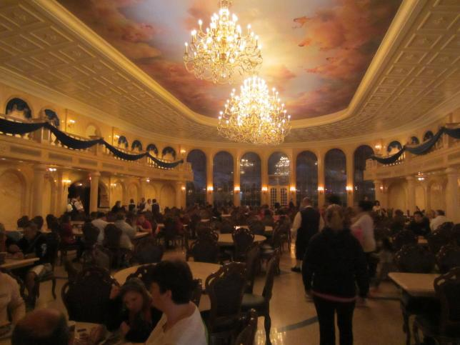 Here is an absolutely terrible picture of the ballroom. I love my little point and shoot but it does NOT do well in low light situations and Be Our Guest is most definitely a low light situation.