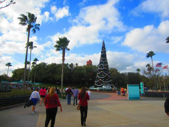 A big Christmas tree outside Hollywood Studios.